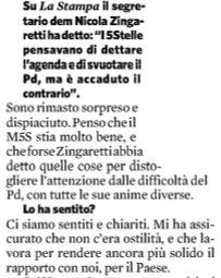 Crimi al Fatto su Zingaretti